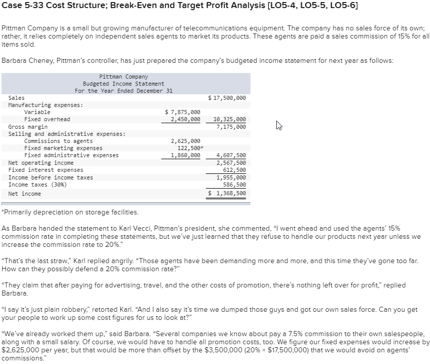 Solved Case 5 33 Cost Structure Break Even And Target Pr