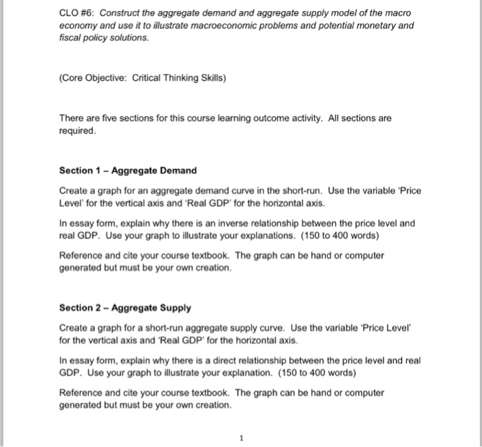 Solved Clo  Construct The Aggregate Demand And Aggrega  Clo  Construct The Aggregate Demand And Aggregate Supply Model Of The  Macro Economy Business Communication Essay also High School Application Essay Samples  Othello Essay Thesis