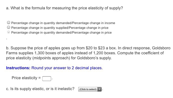Solved What Is The Formula For Measuring The Price Elasti