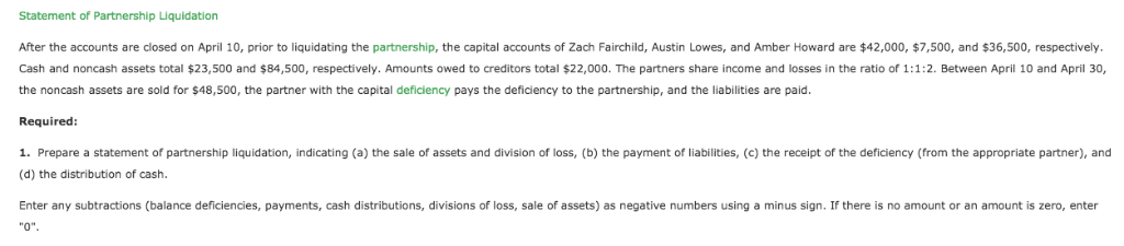 Solved: Fairchild, Lowes, And Howard Statement Of Partners