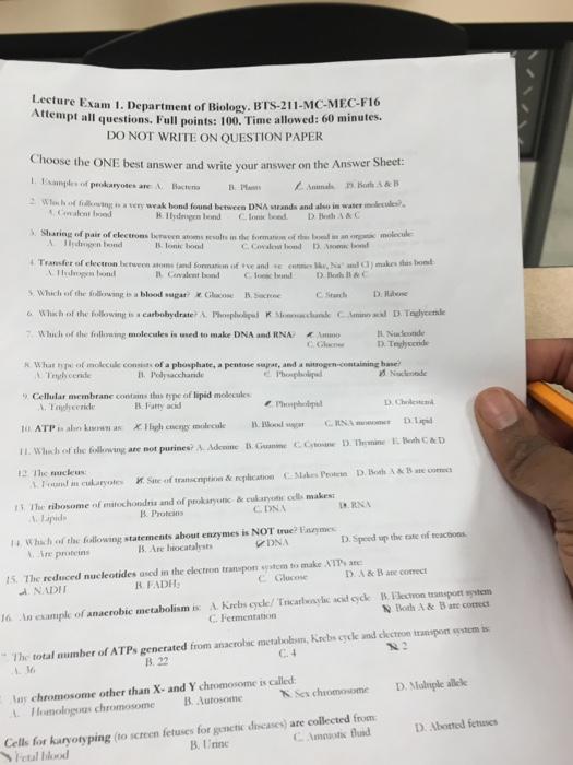 sample biology 100 test questions and answers