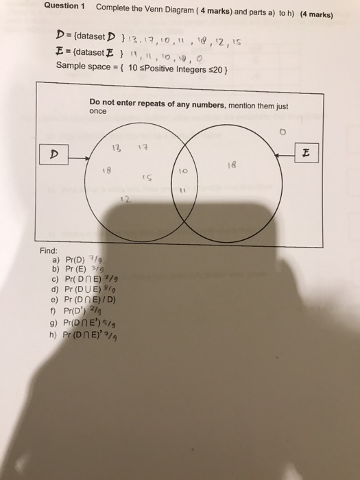 Solved Question 1 Complete The Venn Diagram 4 Marks And