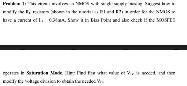 Problem 1: this circut involves an nmos with singl. | chegg. Com.