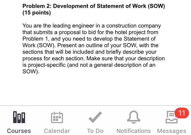 problem 2 development of statement of work sow chegg com
