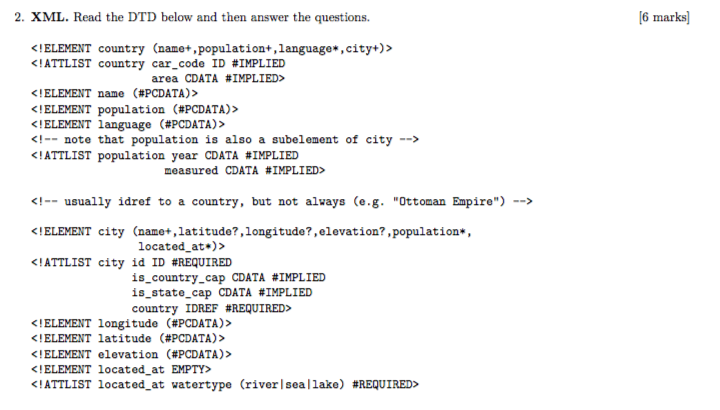 Solved: 6 Marks 2  XML  Read The DTD Below And Then Answer