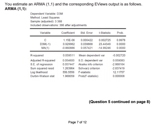 Solved: You Estimate An ARMA (1,1) And The Corresponding E