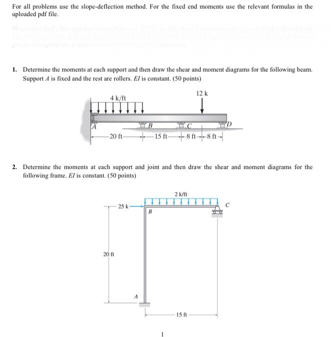 Solved: For All Problems Use The Slope-deflection Method