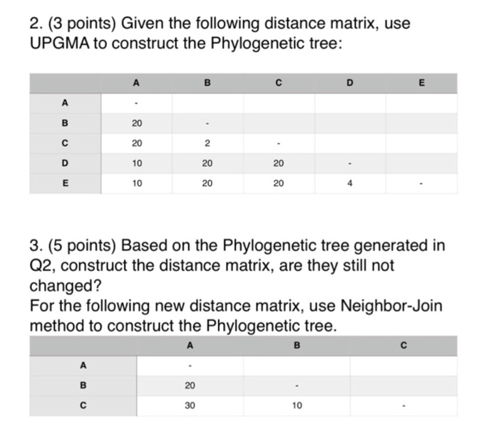 2. (3 points) Given the following distance matrix, use UPGMA to construct the Phylogenetic tree: 10 20 10 20 20 3. (5 points) Based on the Phylogenetic tree generated in Q2, construct the distance matrix, are they still not changed? For the following new distance matrix, use Neighbor-Join method to construct the Phylogenetic tree. 10