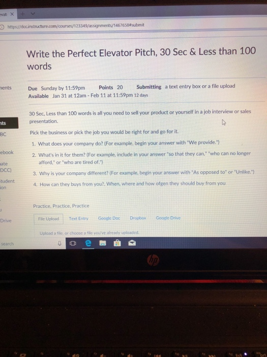 467658 submit write the perfect elevator pitch 30 sec less than 100 words nents