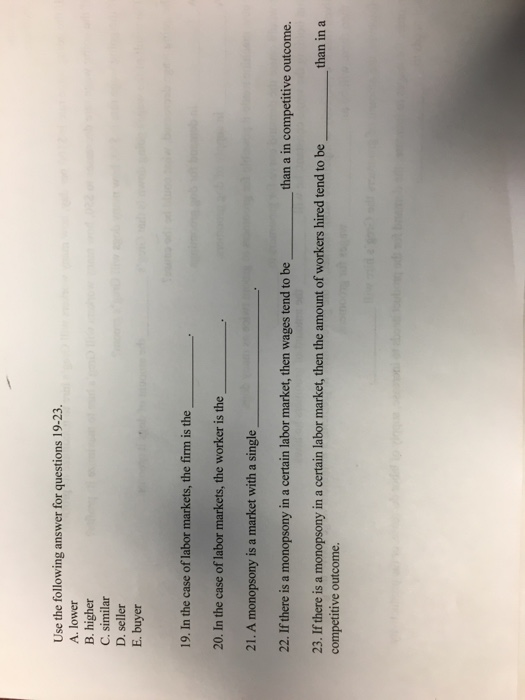 Solved: Use The Following Answer For Questions 19-23 A  Lo