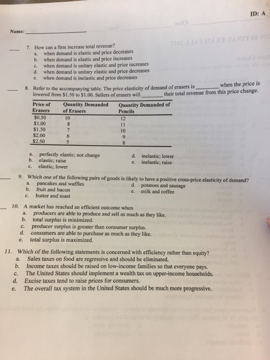 Solved: ID: A Date: Class: Name: ECON 40 FINAL EXAM FALL 2 ...