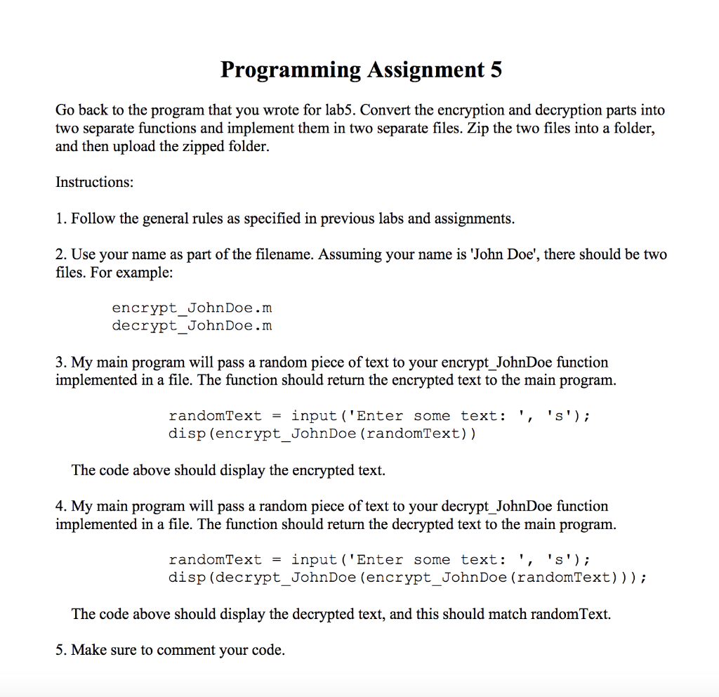 Solved: Programming Assignment 5 Go Back To The Program Th
