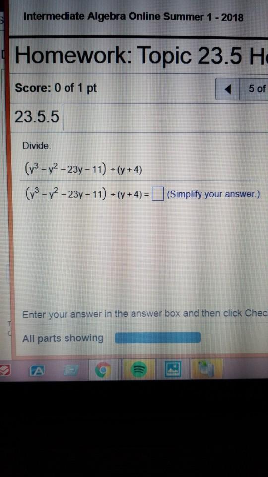 Solved Intermediate Algebra Online Summer  Homework  Intermediate Algebra Online Summer  Homework Topic  H Score  Of