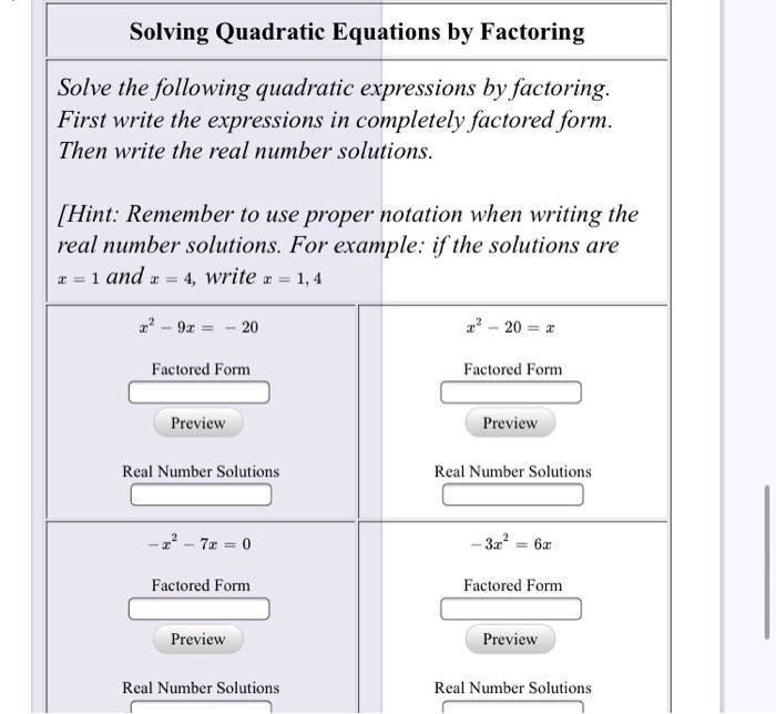 Solved: Solving Quadratic Equations By Factoring Solve The... Chegg.com