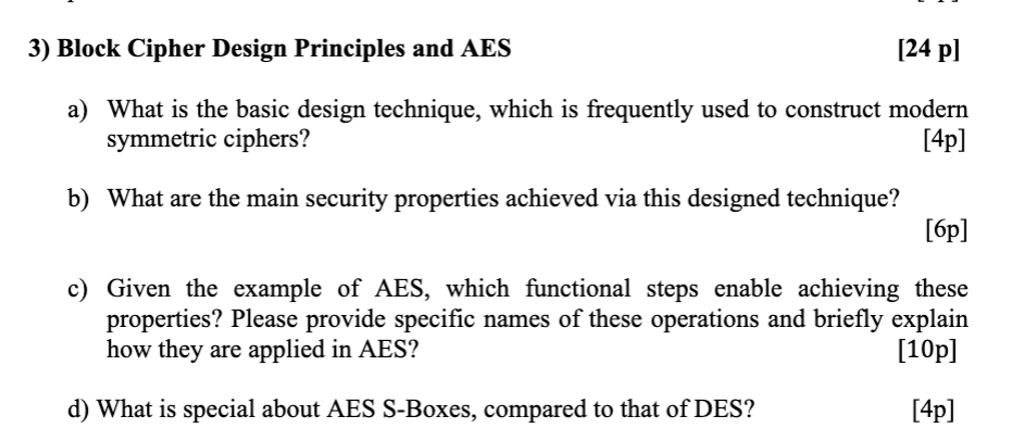 Solved: [24 Pl 3) Block Cipher Design Principles And AES A