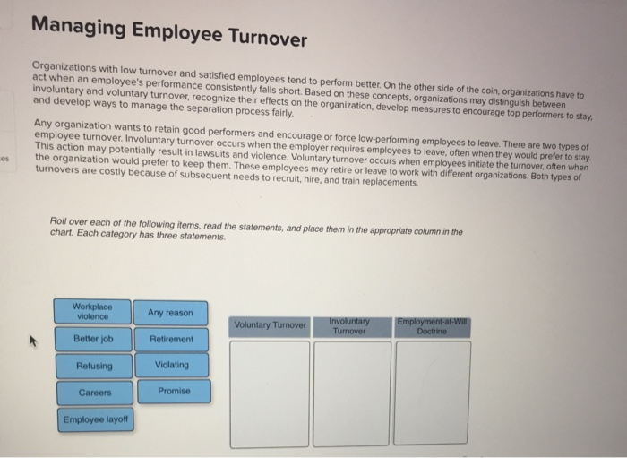 Solved: Organizations With Low Turnover And Satisfied Empl