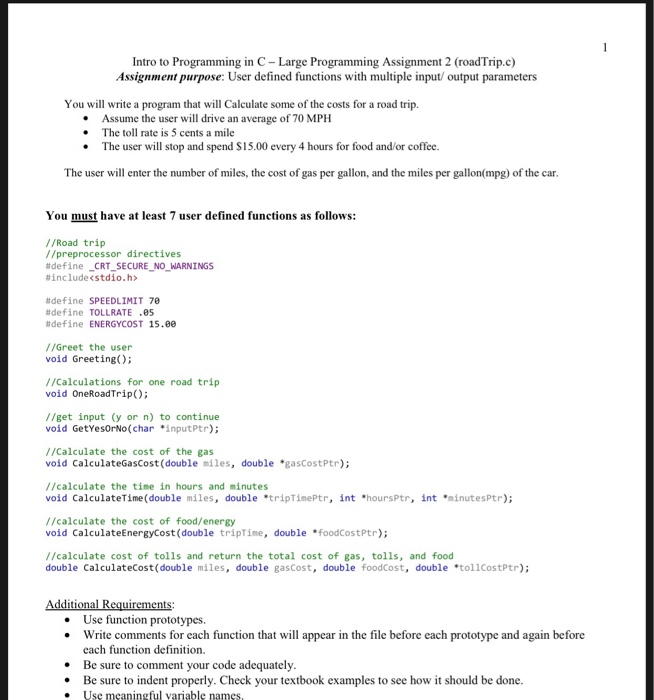 Solved: Intro To Programming In C- Large Programming Assig