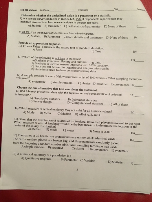 Sections FirstName EMS 280 Midterm LastName 8) In