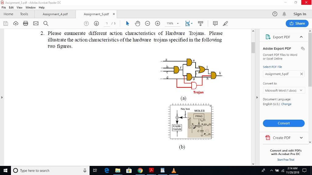 Assignment 5 pdf-Adobe Acrobat Reader DC File Edit    | Chegg com