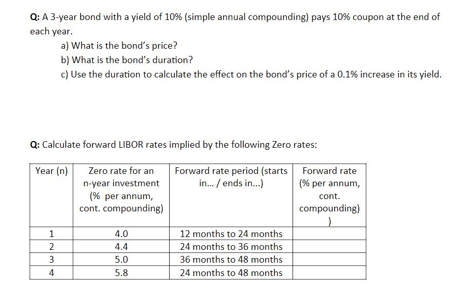 Q A 3 Year Bond With A Yield Of 10 Simple Annua Chegg