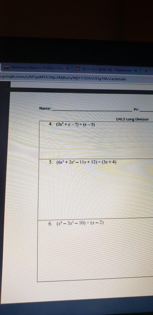 Solved:   Hwayl Algebra Problem Solv X Com/c/MTgxMTA3Njc2M