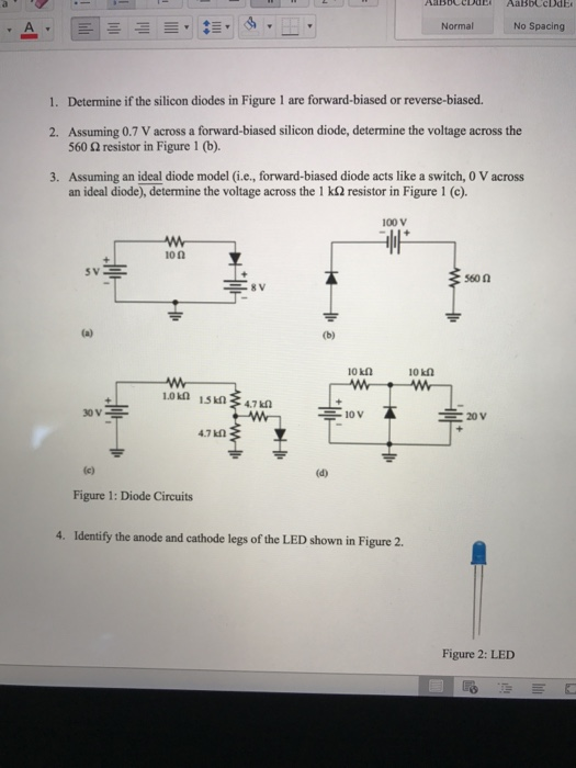solved determine if the silicon diodes in figure 1 are fo rh chegg com