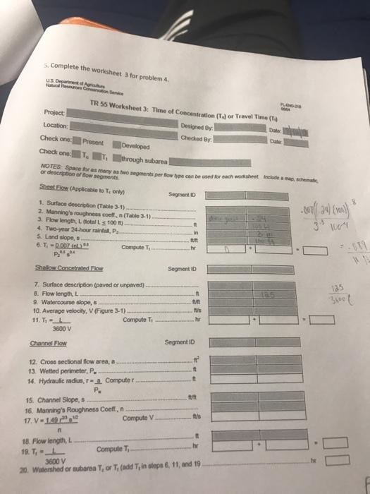Solved Complete The Worksheet 3 For Problem 4 Tr 55 Works