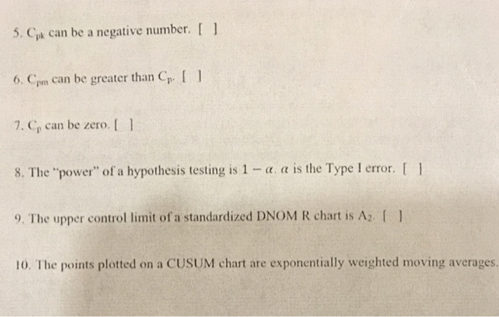Solved: 5  Cp Can Be A Negative Number  1 6  Cm Can Be Gre