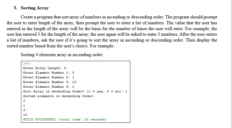 Solved: 3  Sorting Array Create A Program That Sort Array