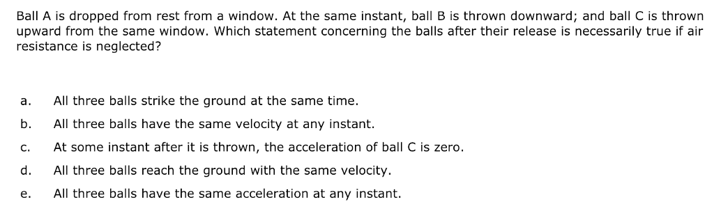 Solved: Ball A Is Dropped From Rest From A Window. At The ...