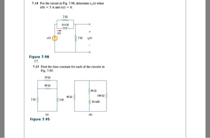 ee49b34f5ffb Solved: 7.18 For The Circuit In Fig. 7.98, Determine Vl) W ...