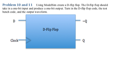 Solved: Problem 10 And 11Using ModelSim Create A D-lip Flo