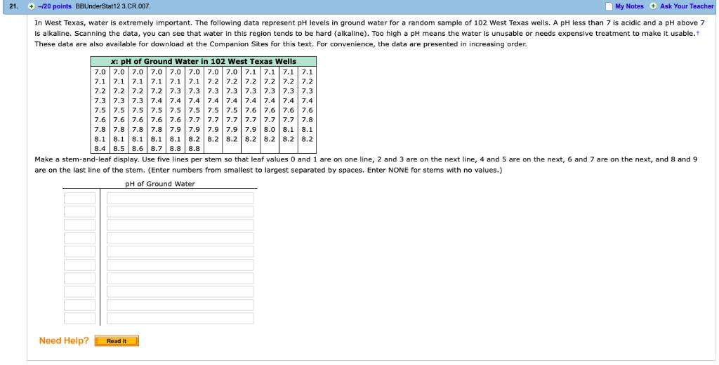 Solved: 32  -/6 Points BBUnderStat12 3 CR 018  My Notes DA