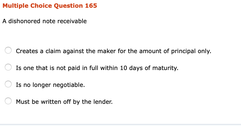 Principal Play Is Non Negotiable For >> Solved A Dishonored Note Receivable Creates A Claim Again
