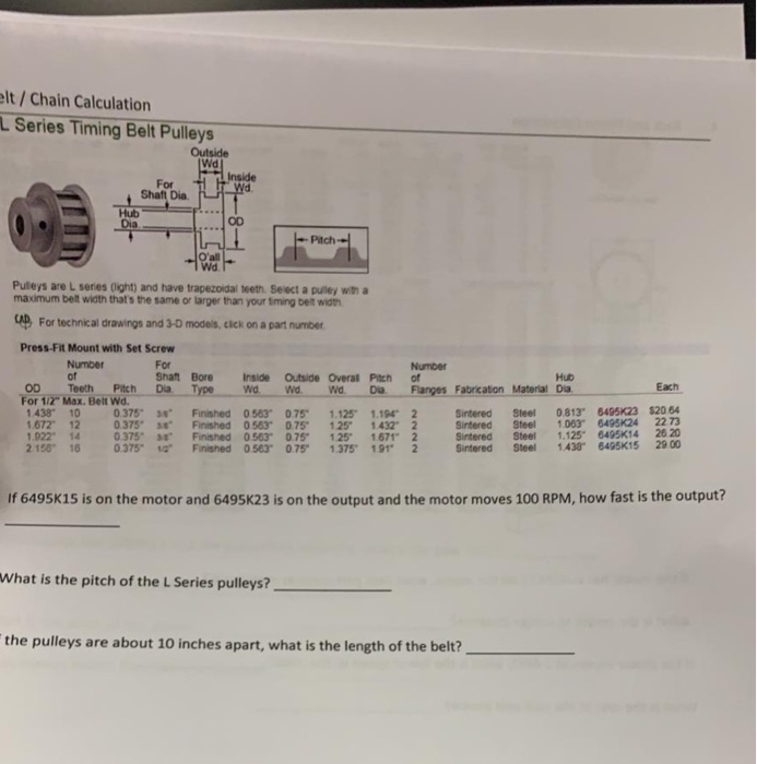 Solved: Lt/Chain Calculation LSeries Timing Belt Pulleys O