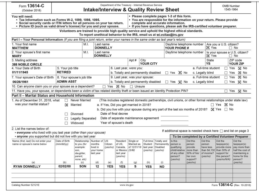 form 1040 health care individual responsibility worksheet  Advanced Scenario 11: Matthew And Mary Donnelly Dir ...