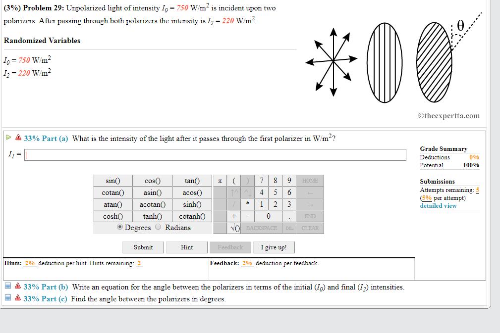 Solved 3 Problem 29 Unpolarized Light Of Intensity 1