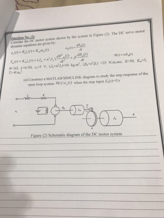 Consider the DC motor system shown by the system in Figure (2). The DC servo motor dynamic equations are given by: No dt dr2 dr R-10, 1-0.SH. s v. 50 kg.m (.i)25 N.m.sec, K-so, K-5, (a) Construct a MATLAB/SIMULINK diagram to study the step response of the open loop system θ(t)/e, (1) when the step input Eds)-5/s Figure (2) Schematic diagram of the DC motor system