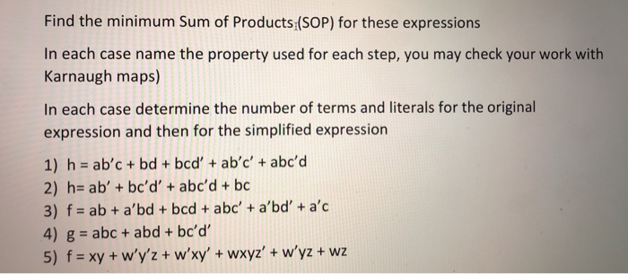 Solved Find The Minimum Sum Of Products Sop For These E