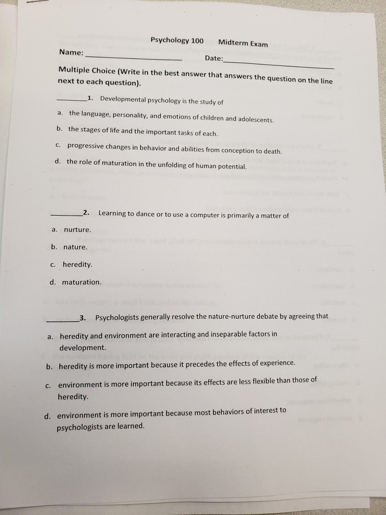 Solved: Psychology 100 Midterm Exam Name: Date: Multiple C