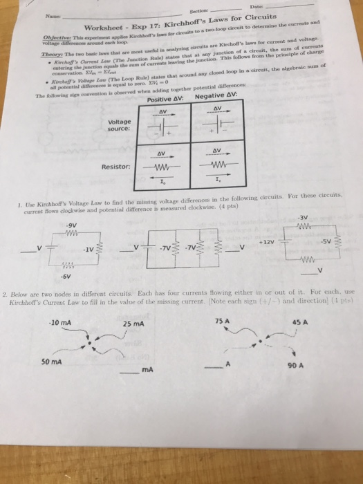 Solved: Worksheet Exp 17: Kirchhoff's Laws For Circuits Ob ...