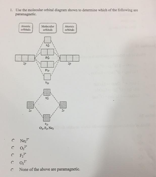 Solved Use The Molecular Orbital Diagram Shown To Determi
