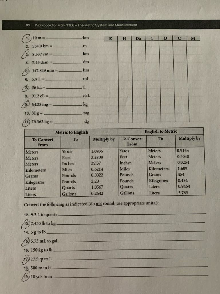 92 Workbook For MGF 1106 The Metric System And H Da 2549 Km M 8537