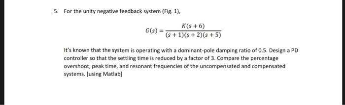 Solved:   For The Unity Negative Feedback System (Fig  1