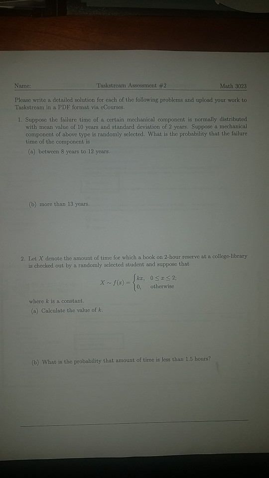 Solved: Laskstream Assessment #2 Math 3023 Please Write A