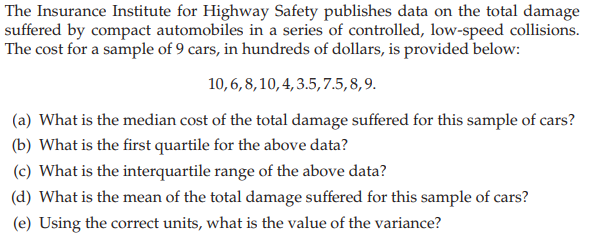 Solved The Insurance Institute For Highway Safety Publish