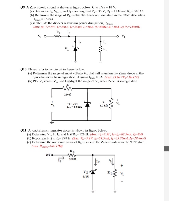 solved 09 a zener diode circuit is shown in figure below rh chegg com