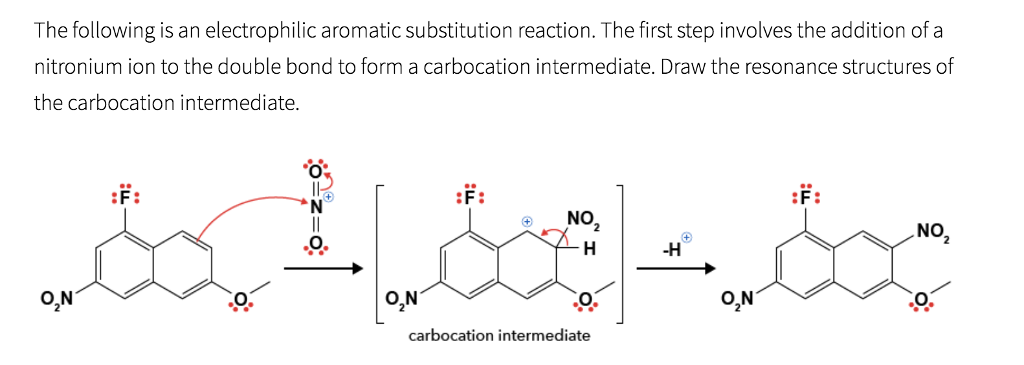 29e2562667d0 The following is an electrophilic aromatic substitution reaction. The first  step involves the addition of