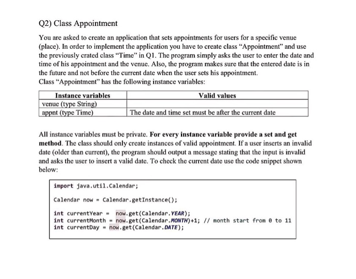 Solved: Q2) Class Appointment You Are Asked To Create An A