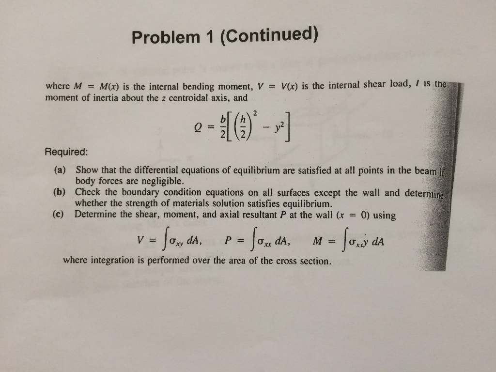 Solved Problem 1 Continued Where M Mx Is The Intern Draw Bending Moment And Shear Force Diagrams F Cheggcom Internal